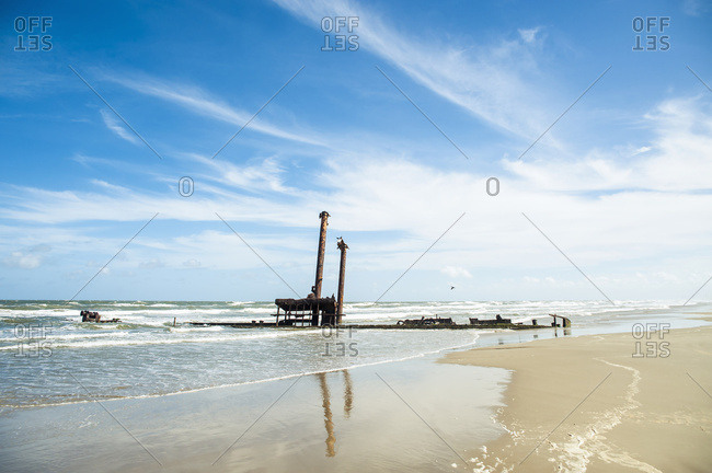 April 6, 2018: Sunken Ship On Casino Beach, The Longest Beach In The World; Rio Grande Do Sul, Brazil