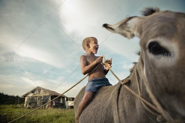 April 6, 2018: Young Boy Riding Donkey, Brazil