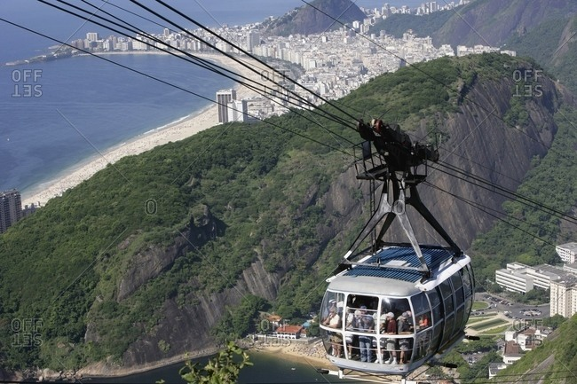 April 6, 2018: Rio De Janeiro,, Brazil: Cable Car On The Way Up Sugarloaf Mountain.