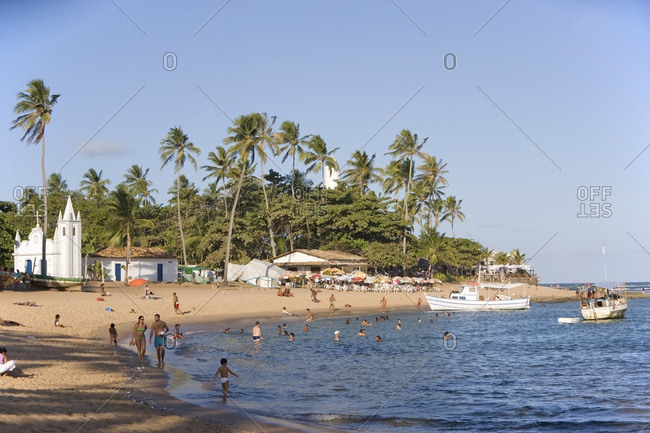 April 6, 2018: Church And Beach At Praia Do Forte, Bahia, Brazil