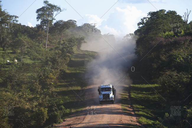 April 6, 2018: Truck On A Red Dirt Road Between Concepcion And Brazil In The Chiquitania A Region, Santa Cruz Department, Bolivia