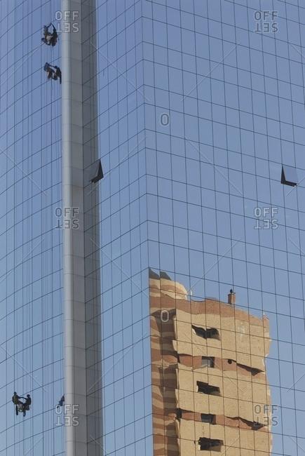 April 6, 2018: Sao Paulo, Brazil: People Climbing Up Modern Skyscraper