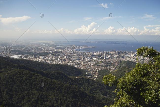April 5, 2018: View Of Rio City Centre From Christ The Redeemer Statue, Corcovado Mountain, Tijaca National Park; Rio De Janeiro, Brazil
