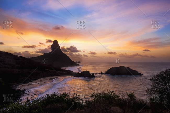 Views of morro do pico at sunset from forte dos remedios; Fernando de noronha pernambuco brazil