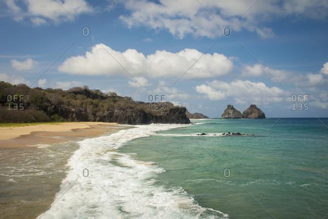 View Of Morro Dos Irmaos From Praia Do Bode; Fernando De Noronha Pernambuco Brazil