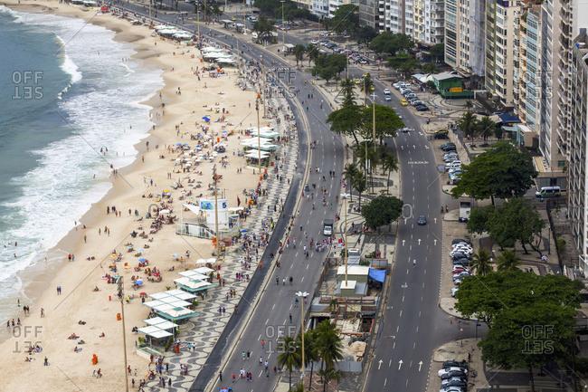 April 5, 2018: Part Of Copacabana Beach In Rio De Janeiro Viewed From Above; Rio De Janeiro, Brazil