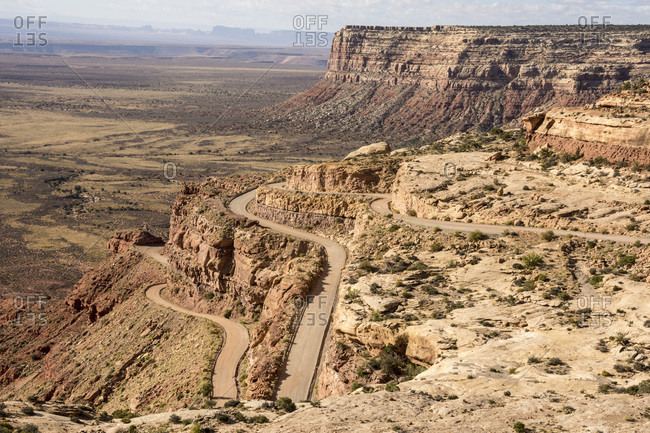 Mokee Dugway switchback dirt road off Cedar Mesa, Mexican Hat, southern Utah, United States of America, North America