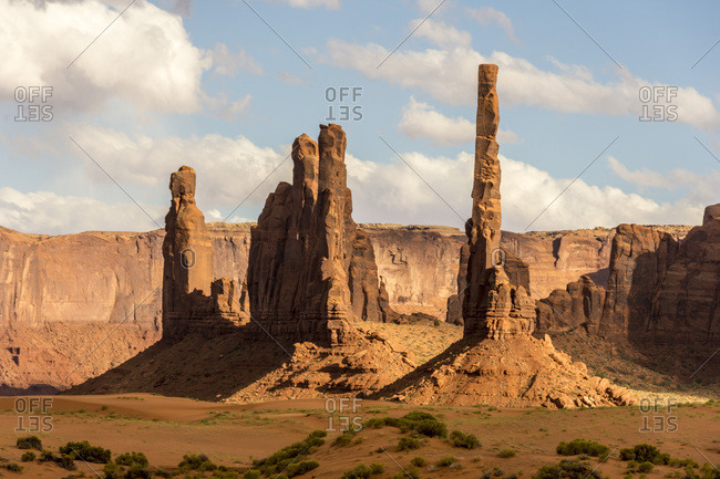 Totem Pole sandstone towers, Monument Valley Navajo Tribal Park, Arizona, United States of America, North America