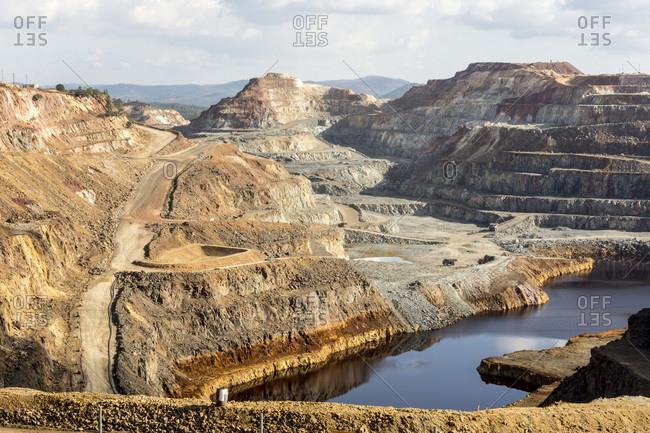 Main open-pit copper-sulfur mine at Rio Tinto, Huelva, Southwest Spain, Europe