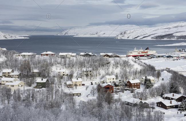 February 20, 2017: Northern terminus of Hurtigruten ferry, Kirkenes, Arctic, Norway, Scandinavia, Europe