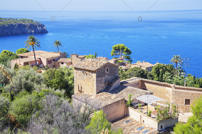 View of Lluc Alcari village near Deia, Mallorca (Majorca), Balearic Islands, Spain, Mediterranean, Europe
