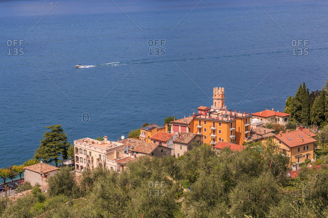 View of Lake Garda from near Albisano on Lake Garda, Veneto, Italian Lakes, Italy, Europe