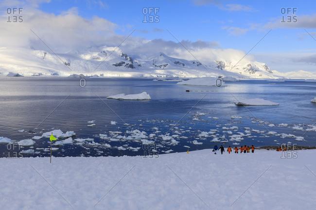 Expedition ship passengers hiking, early morning, beautiful day, Neko Harbor, Graham Land, Antarctic Continent, Antarctica, Polar Regions