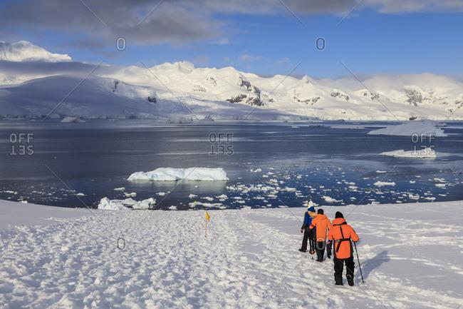 December 7, 2017: Expedition ship passengers trek above the sea, early morning, sunny day, Neko Harbor, Andvord Bay, Graham Land, Antarctica, Polar Regions