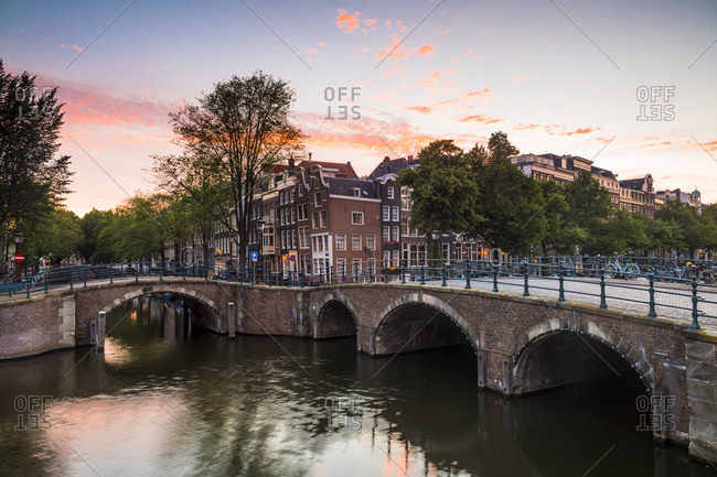 June 27, 2017: A bridge over the Keizersgracht Canal, Amsterdam, Netherlands, Europe