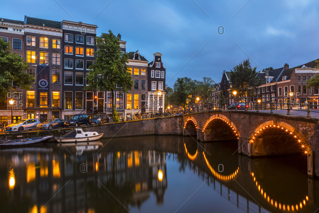 June 28, 2017: A bridge over the Keizersgracht Canal, Amsterdam, Netherlands, Europe