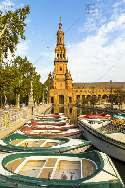 October 12, 2017: Row boats for hire in Plaza de Espana, built for the Ibero-American Exposition of 1929, Seville, Andalucia, Spain, Europe