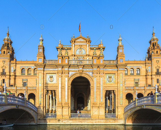 October 12, 2017: Plaza de Espana, built for the Ibero-American Exposition of 1929, Seville, Andalucia, Spain, Europe