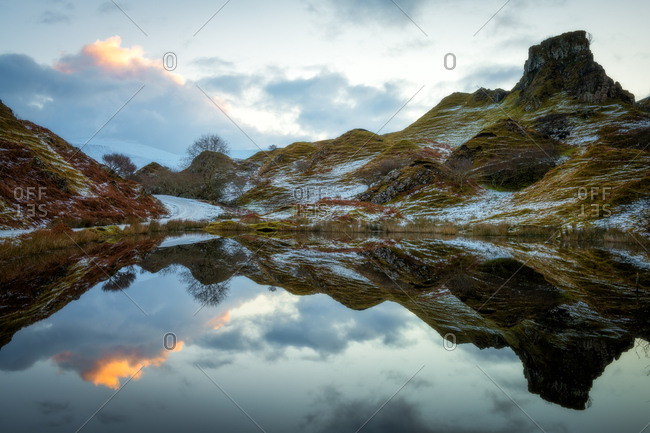 Fairy Glen at sunrise, Isle of Skye, Inner Hebrides, Scotland, United Kingdom, Europe
