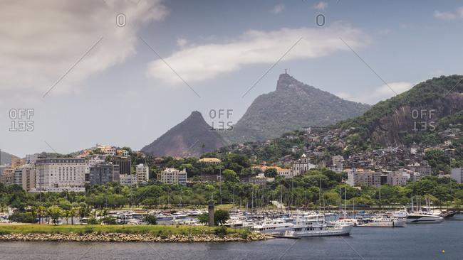 December 13, 2017: Flamengo neighborhood with iconic Christ the Redeemer statue on far right, Rio de Janeiro, Brazil, South America