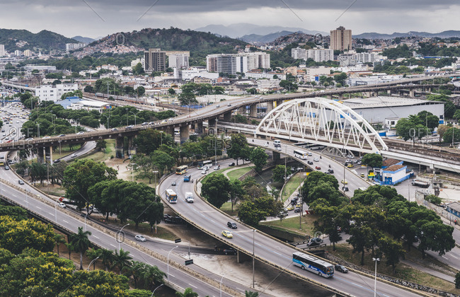 December 13, 2017: Busy highway junctions in Rio de Janeiro, Brazil, South America