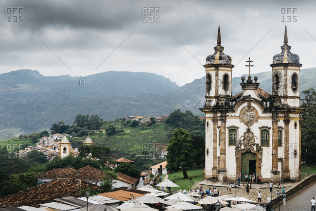 December 28, 2017: Church of Saint Francis of Assisi built by Aleijadinho in 1766 a Rococo Catholic church in Ouro Preto, UNESCO World Heritage Site, Minas Gerais, Brazil, South America