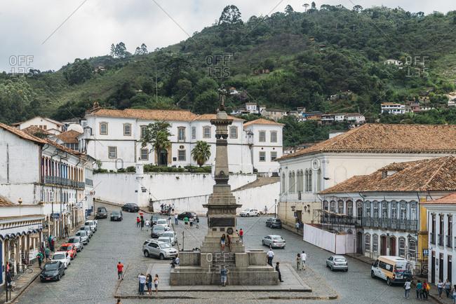 December 28, 2017: Tiradentes Square where the martyr Joaquim Jose da Silva Xavier was hanged in Ouro Preto, UNESCO World Heritage Site, Minas Gerais, Brazil, South America