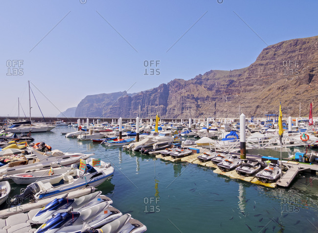 May 12, 2014: Port in Acantilados de los Gigantes, Tenerife Island, Canary Islands, Spain, Atlantic, Europe