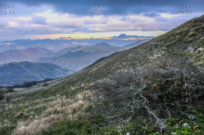 Spot of light on Monte San Vicino after a storm, Apennines, Umbria, Italy, Europe