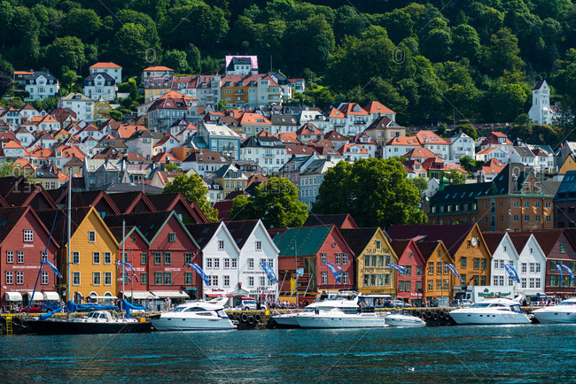 July 22, 2014: Historic Hanseatic buildings on wharf by Vagen harbor, Bryggen (Tyskebryggen), UNESCO World Heritage Site, Bergen, Hordaland, Norway, Scandinavia, Europe