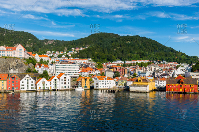 July 22, 2014: Bergen waterfront and skyline seen from the sea, Hordaland, Norway, Scandinavia, Europe