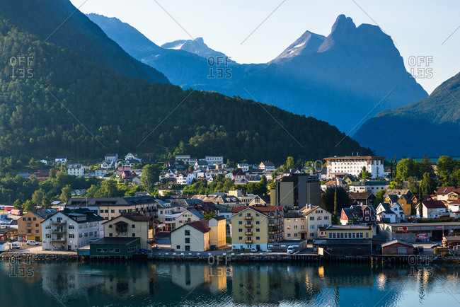 July 23, 2014: Andalsnes located at the mouth of the river Rauma, on the shores of the Romsdalsfjord (Romsdal Fjord), More og Romsdal, Norway, Scandinavia, Europe