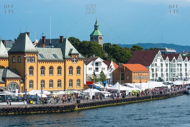 July 25, 2014: Stavanger city waterfront, Rogaland, Norway, Scandinavia, Europe