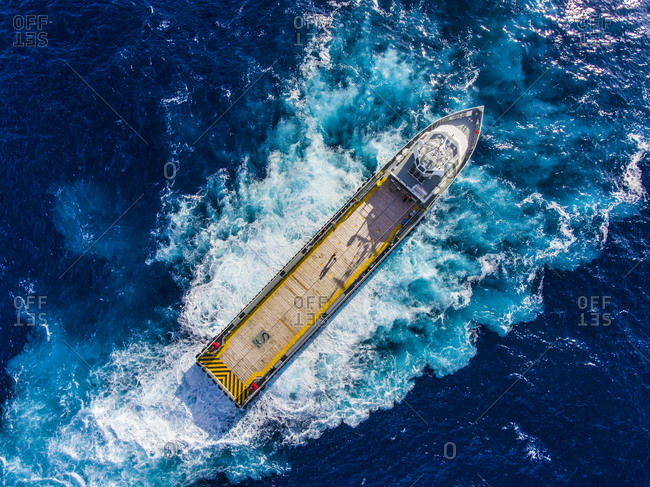 Gulf of Mexico - August 17, 2016: High angle view of container ship sailing in sea