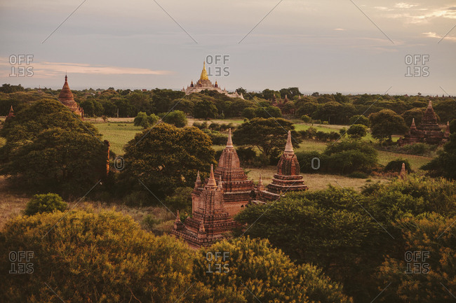 High angle view of Ananda Temple against cloudy sky during sunset