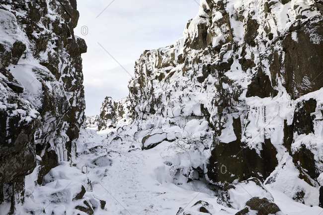 View of snow covered rocks on landscape