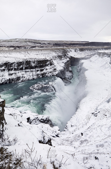 High angle scenic view of Gullfoss Falls during winter