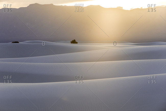 Scenic view of White Sands Dunes National Monument during sunset