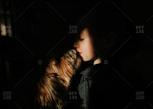 Light shape cast on little boy and dog playing in dark room