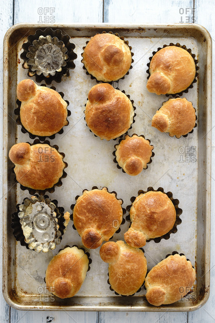 Homemade brioche on a baking pan