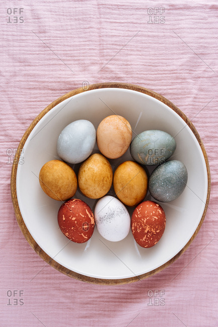 Easter eggs naturally dyed with vegetable and fruit