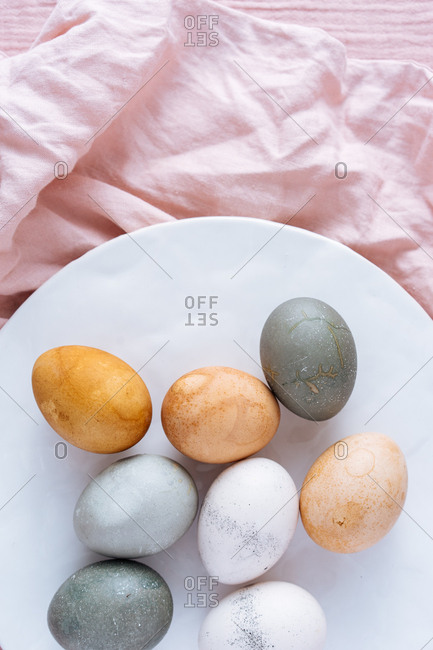 High angle view of Easter eggs naturally dyed with vegetable and fruit