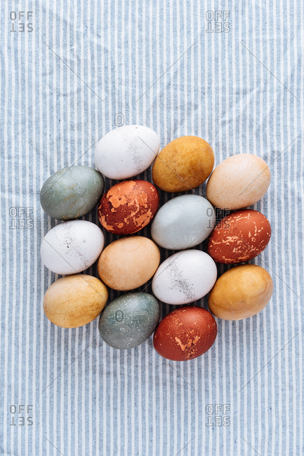 Easter eggs on a blue striped cloth