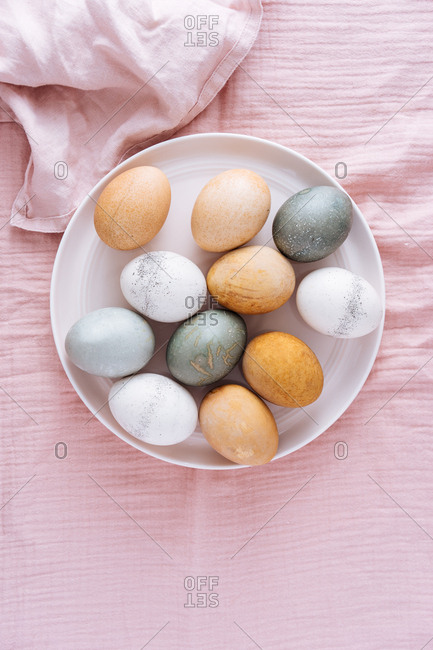 Naturally dyed Easter eggs dyed with vegetable and fruit