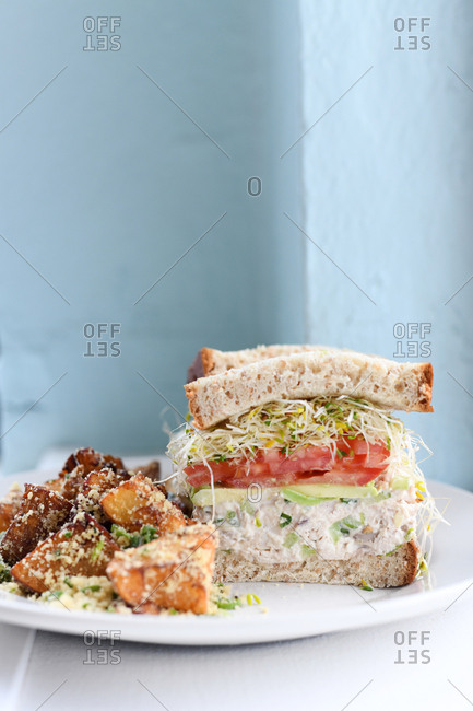 Tuna salad sandwich with sprouts