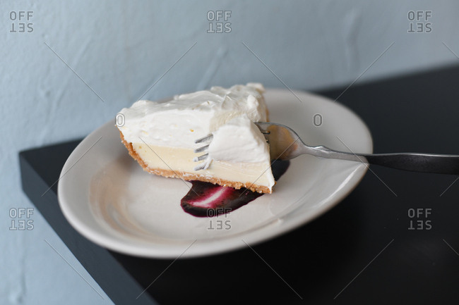 Close up of a slice of pie