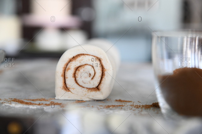 Close up of a raw cinnamon roll