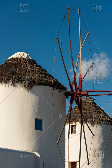 Windmill at sunset in Mykonos Greece