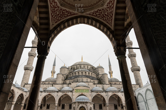 View to domes of big mosque building in Istanbul, Turkey.