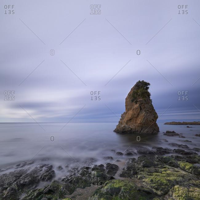 Long exposure view of sea rocks at Tateishi Park, Kanagawa Prefecture, Japan